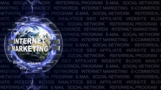 INTERNET MARKETING Text Animation and Earth, with Keywords, Loop, 4k