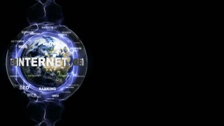 INTERNET Text Animation and Earth, with Keywords, Loop, 4k