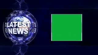 LATEST NEWS Text Animation and Earth, Rendering Background, with Green Screen, Loop, 4k