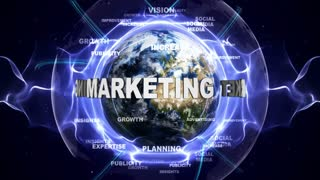 MARKETING Text Animation and Earth, with Keywords, Loop, 4k