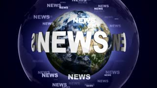NEWS Text Animation and Earth, Loop, 4k