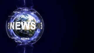 NEWS Text Animation and Earth, Rendering, Background, Loop, 4k