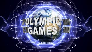 OLYMPIC GAMES and SPORTS Texts Animation and Earth, Loop, 4k