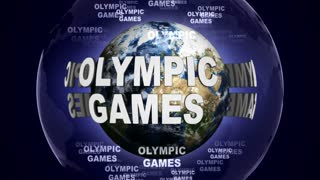 OLYMPIC GAMES Text Animation and Earth, Loop, 4k
