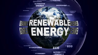 RENEWABLE ENERGY Text Animation and Earth, Rendering, Animation, Background, Loop, 4k