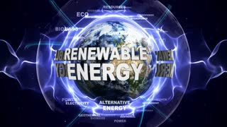 RENEWABLE ENERGY Text Animation and Earth, with Keywords, Loop, 4k
