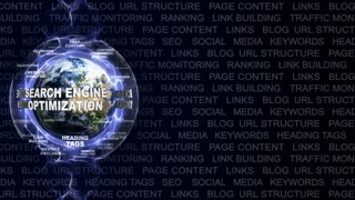 SEARCH ENGINE OPTIMIZATION, SEO, Text Animation and Earth, Loop, 4k