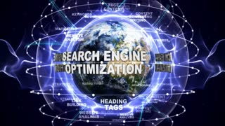 SEARCH ENGINE OPTIMIZATION Text Animation and Earth, Loop, 4k