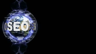 SEO Text Animation and Earth, with Keywords, Rendering, Animation, Loop, 4k