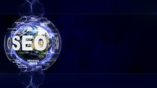 SEO Text Animation and Earth, with Keywords, Rendering, Background, Loop, 4k