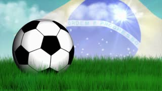 Soccer Ball, Grass Field, Brazilian Flag, 4k