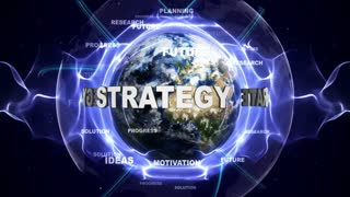 STRATEGY Text Animation and Earth, with Keywords, Loop, 4k