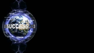 SUCCESS Text Animation and Earth, with Keywords, Loop, 4k