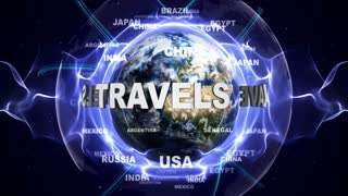 TRAVELS Text Animation and Earth, Loop, 4k