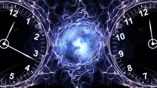 Two Clocks and Tunnel in Fibers Ring, Time Travel Concept, Background, Loop, 4k