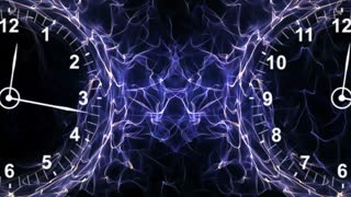 Two Clocks in Fibers Ring, Time Travel Concept, Background, Loop, 4k