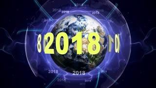 2018, New Year Animation, Rendering, Background, Loop, 4k