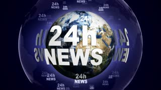 24h NEWS Text Animation Around the World, Rendering, Background, Loop, 4k