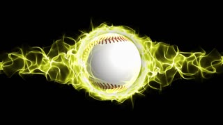 Baseball Ball in Yellow Flames Abstract Particles Ring, Animation, Background, Rendering, Fiery, Fire, Loop, 4k