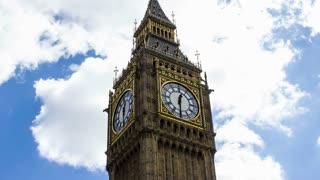 Big Ben and Clouds, Time Lapse, London, 4k