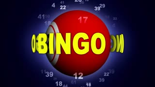 BINGO Text Animation Around the Bingo Ball, Rendering, Background, Loop, 4k