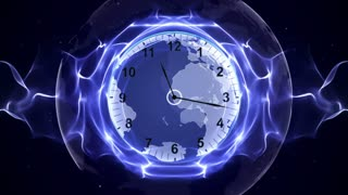 Clock and Earth in Fibers Animation, Rendering, Time Travel Concept, Background, Loop, 4k