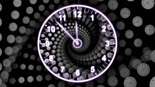 Clock Background Tunnel Animation, Rendering, Time Travel Concept, Background, Loop, 4k