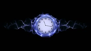 Clock in Fibers Ring, Time Concept Animation, Rendering, Background, Loop, 4k