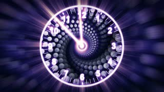 Clocks Spiral Tunnel Animation, Time Concept, Rendering, Background, with Alpha Channel, Loop, 4k