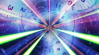 Clocks Tunnel and Fibers, Time Travel Concept Animation, Rendering, Background, Loop, 4k