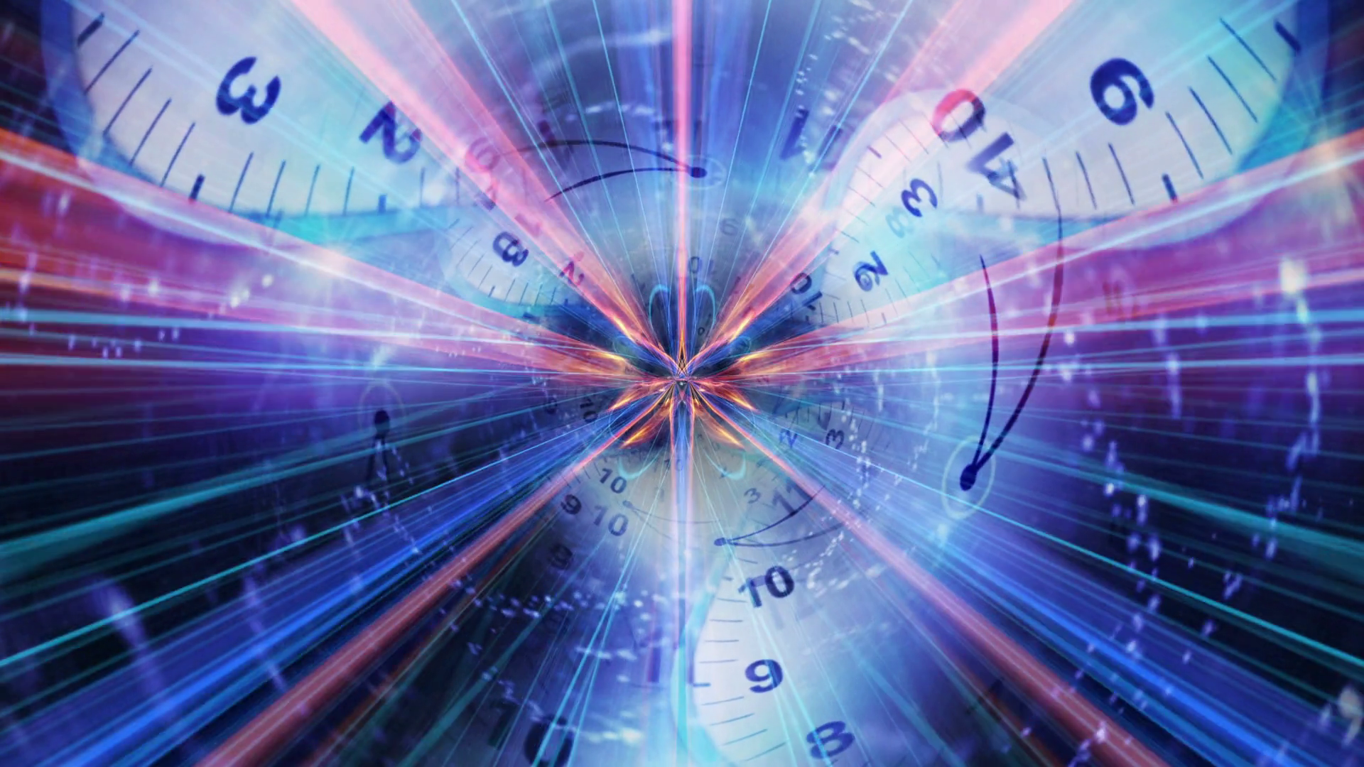 Clocks Tunnel Animation, Rendering, Time Travel Concept, Background, Loop, 4k Motion Background
