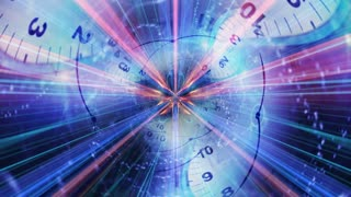 Clocks Tunnel Animation, Rendering, Time Travel Concept, Background, Loop, 4k