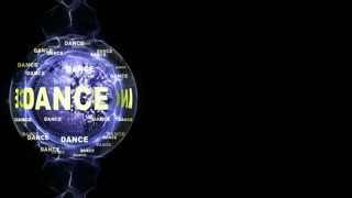 DANCE Text Animation and DISCO BALL, Rendering, Background, Loop, 4k
