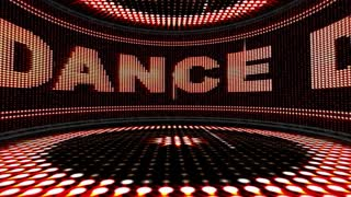 DANCE Text in Monitor and Disco Room Animation, Rendering, Loop, 4k