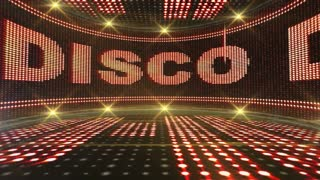 DISCO Text Animation on Monitor, Rendering, Background, Loop, 4k