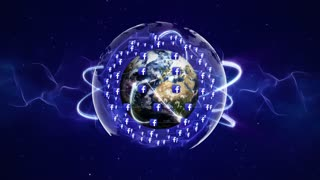 Earth and FACEBOOK Logos Around, Connection Network, Animation, Rendering, Background, Loop, 4k