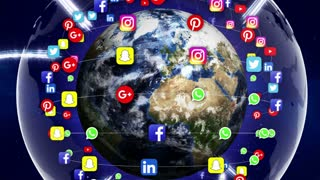 Earth and SOCIAL LOGO Logos Around, Zoom IN / Zoom Out, Connection Network, Animation, Rendering, Background, Loop, 4k