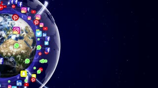 Earth and Social Logos Around, Connection Network, Animation, Rendering, Background, Loop, 4k