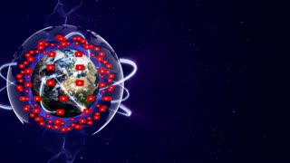 Earth and YOUTUBE Logo Around, Animation, Rendering, Loop, 4k