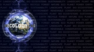 ECOLOGY Text Animation and Earth with Keywords, Rendering,Background, Loop, 4k