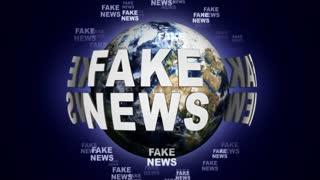 FAKE NEWS Text Animation Around the Earth, Rendering, Background, Loop, 4k