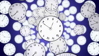 Falling Clocks Animation, Time Concept, Rendering, Background, with Alpha Channel, Loop, 4k