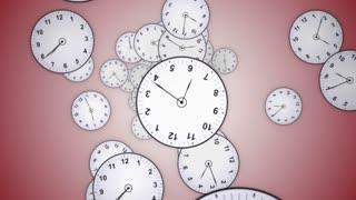 Falling Clocks Background, Animation, Rendering, Time Travel Concept, Loop, 4k