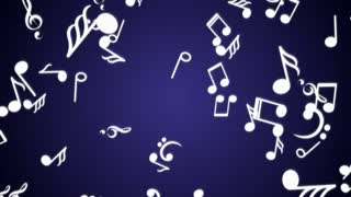 Falling Musical Note Animation, Rendering, Background, Loop, with Alpha Channel, 4k