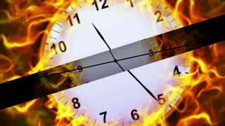 Fiery Clocks and Bars Animation, Rendering, Background, 4k