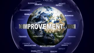 IMPROVEMENT Text and Keywords Around the Earth, Animation, Rendering, Background, Loop, 4k