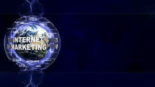 INTERNET MARKETING Text Animation and Earth, Rendering, Background, Loop, 4k