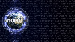 INTERNET Text Animation and Earth, with Keywords, Rendering, Background, Loop, 4k