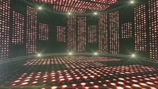 Music Lines Waves, Room, Lights Bulbs Animation, Rendering, Background, Loop, 4k