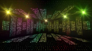 Music Waves Room, Lights Bulbs Animation, Rendering, Background, Loop, 4k